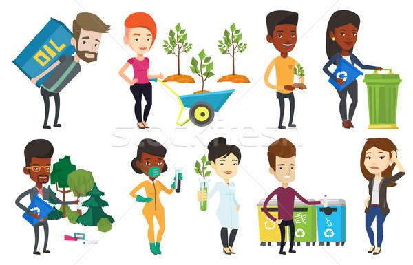 Vector set of characters on ecology issues. Stock photo © RAStudio