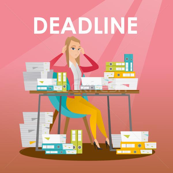 Empresario problema fecha tope mujer de negocios sesión mesa Foto stock © RAStudio