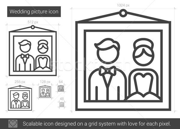 Bruiloft foto lijn icon vector geïsoleerd Stockfoto © RAStudio