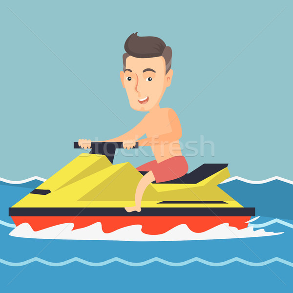 Caucasian man riding on a water scooter in the sea Stock photo © RAStudio