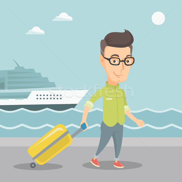 Passenger going to shipboard with suitcase. Stock photo © RAStudio