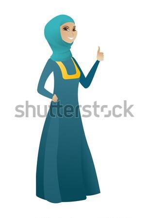 Young muslim business woman waving her hand. Stock photo © RAStudio