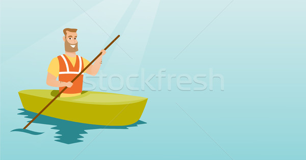 Fiatal kaukázusi férfi utazás kajak utazó Stock fotó © RAStudio