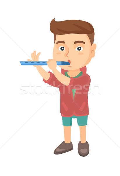 Caucasian little boy playing the flute. Stock photo © RAStudio