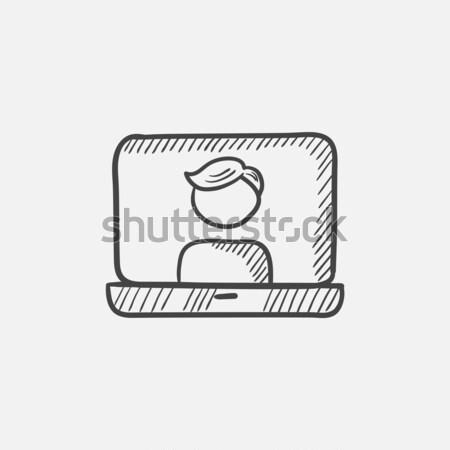 Laptop with man on screen sketch icon. Stock photo © RAStudio
