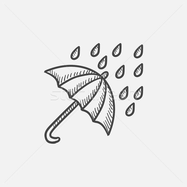 Rain and umbrella sketch icon. Stock photo © RAStudio