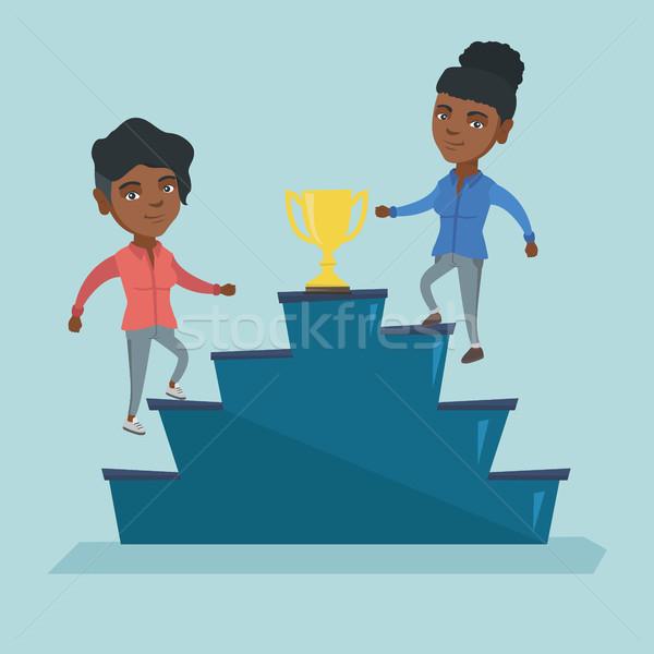 üzlet nők versenyző díj kettő afrikai Stock fotó © RAStudio