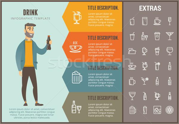 Ital infografika sablon elemek ikonok lehetőségek Stock fotó © RAStudio