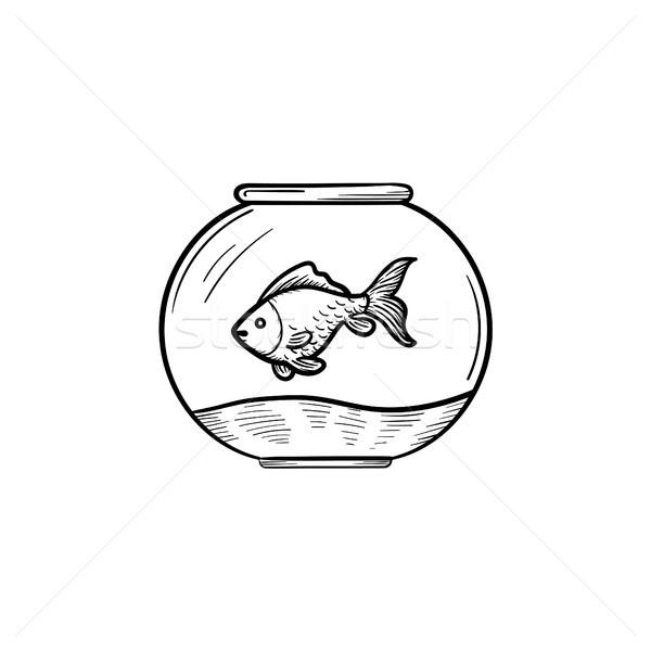 Fishbowl hand drawn sketch icon. Stock photo © RAStudio