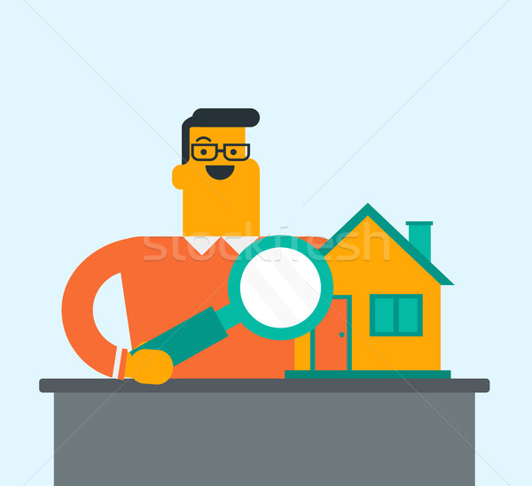 Young caucasian white man looking for a house. Stock photo © RAStudio