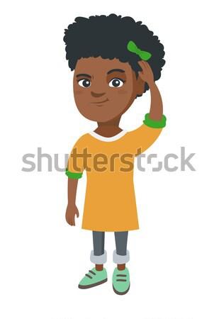 African-american girl eating roasted chicken leg. Stock photo © RAStudio
