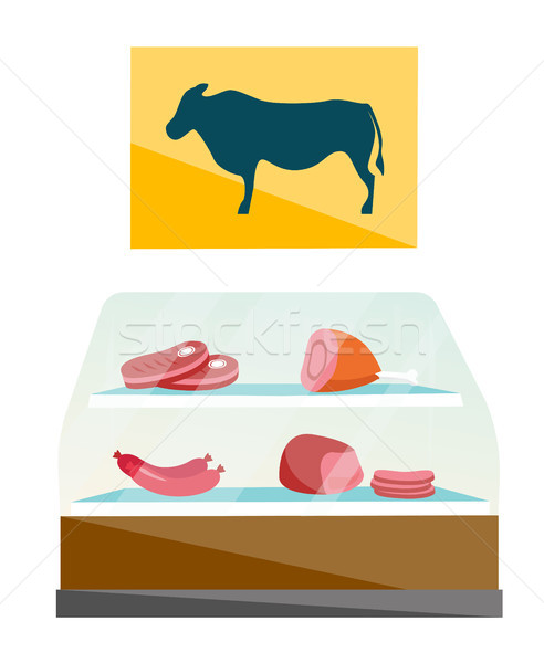 Showcase of butcher shop with meat vector cartoon. Stock photo © RAStudio