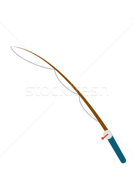 Stock photo: Fishing rod with reel vector cartoon illustration.
