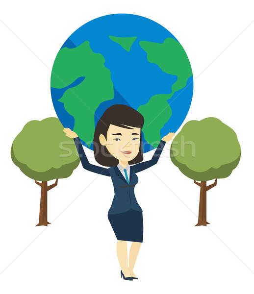 Mujer de negocios mundo Asia grande tierra Foto stock © RAStudio