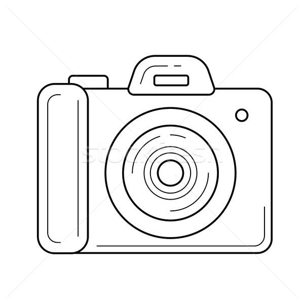 Foto d'archivio: Semplice · fotocamera · line · icona · vettore · isolato