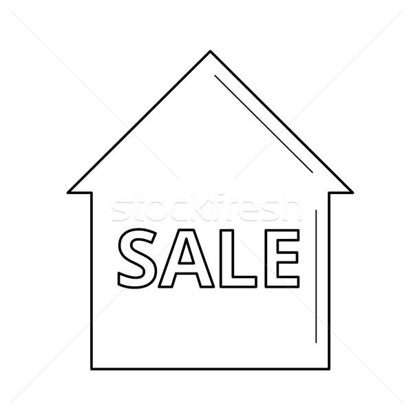 Casa venda linha ícone isolado branco Foto stock © RAStudio
