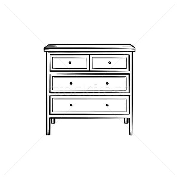 Piersi szuflada szkic ikona Zdjęcia stock © RAStudio