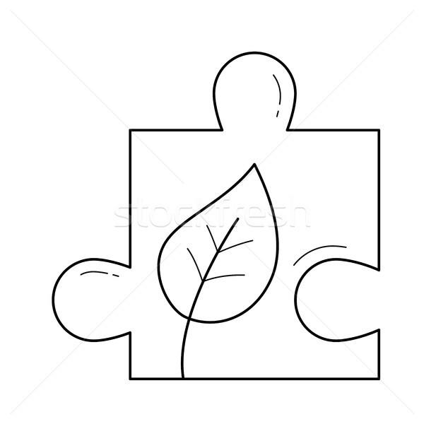 Puzzle piece vector line icon. Stock photo © RAStudio