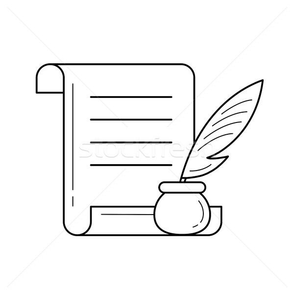 Manuscript paper with feather pen vector line icon Stock photo © RAStudio