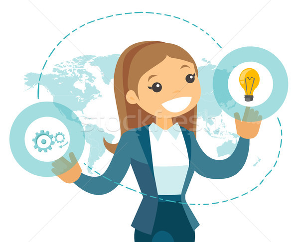 A businesswoman with a lightbulb and a map as symbols of global  Stock photo © RAStudio