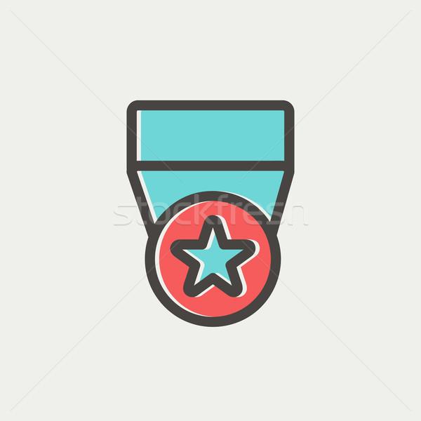 One star medal thin line icon Stock photo © RAStudio