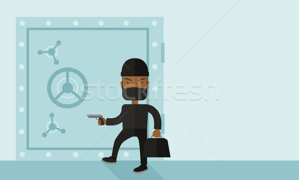 Man in black hacking bank safe. Stock photo © RAStudio