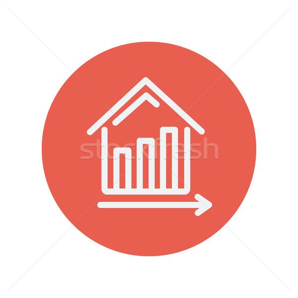 Graph showing financial real estate growth thin line icon Stock photo © RAStudio