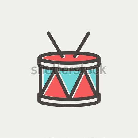 Drum with stick thin line icon Stock photo © RAStudio