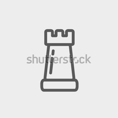 Chess rook thin line icon Stock photo © RAStudio