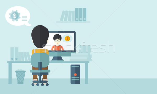 Two asian people talking online Stock photo © RAStudio