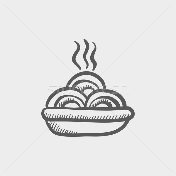 Hot meal in plate sketch icon Stock photo © RAStudio
