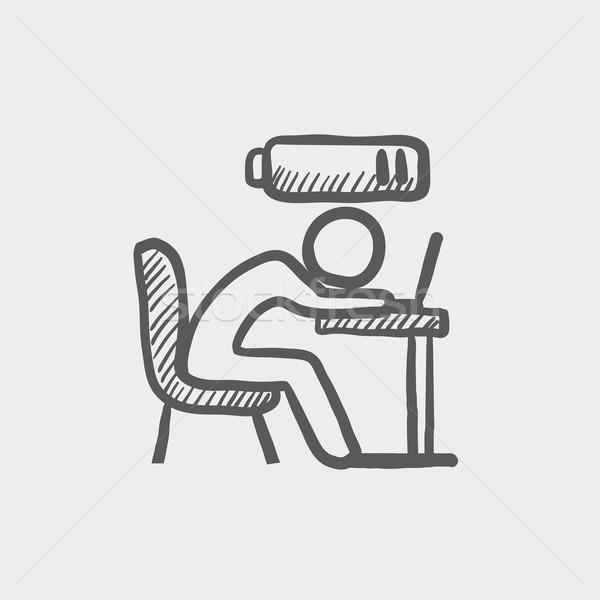 Bsinessman in low power sketch icon Stock photo © RAStudio