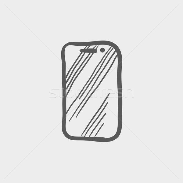 Mobile phone sketch icon Stock photo © RAStudio