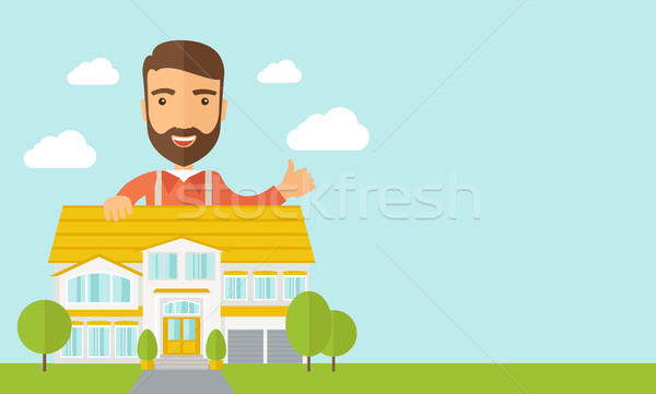 Man at the back of house structure plan Stock photo © RAStudio
