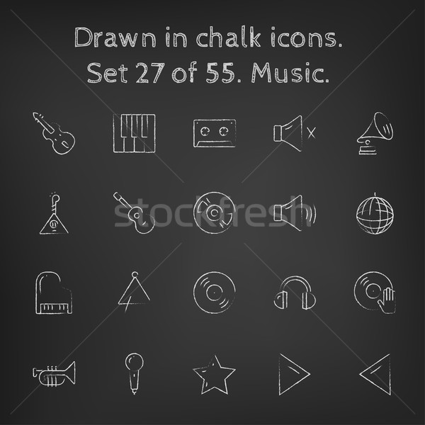 Muziek krijt Blackboard Stockfoto © RAStudio
