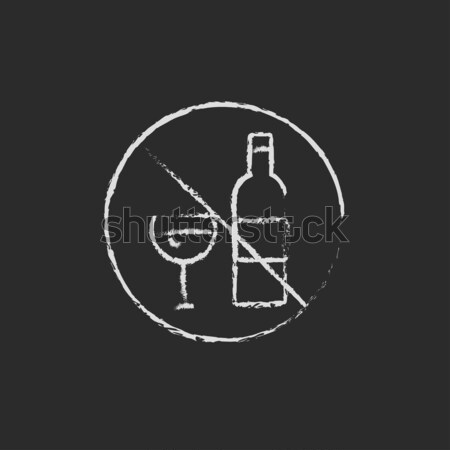 Stock photo: No alcohol sign icon drawn in chalk.