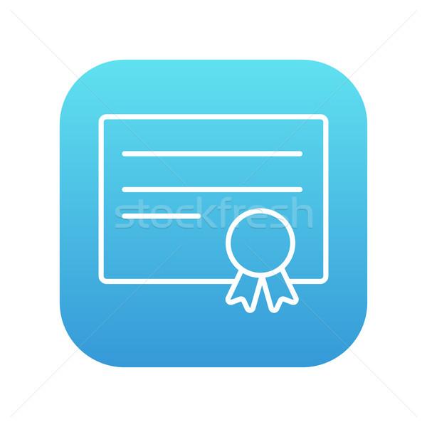 Сток-фото: сертификата · линия · икона · веб · мобильных · Инфографика