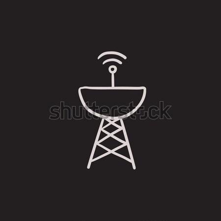Stock fotó: Radar · parabolaantenna · vonal · ikon · háló · mobil