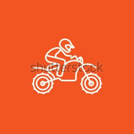 Adam binicilik motocross bisiklet hat ikon Stok fotoğraf © RAStudio
