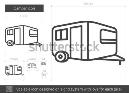 Karaván vonal ikon háló mobil infografika Stock fotó © RAStudio