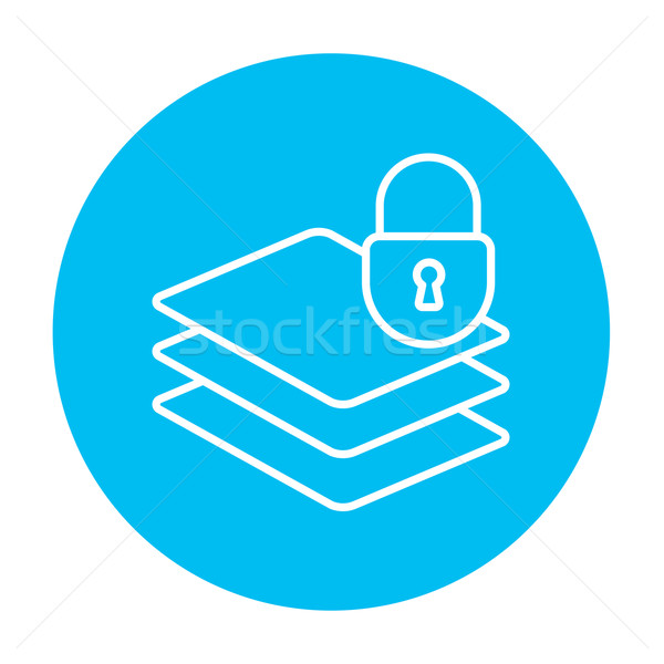 Stack of papers with lock line icon. Stock photo © RAStudio