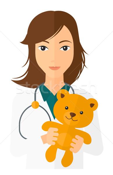 Pediatra ursinho de pelúcia estetoscópio vetor projeto Foto stock © RAStudio