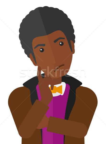 Twijfelachtig jonge man man vector ontwerp illustratie Stockfoto © RAStudio