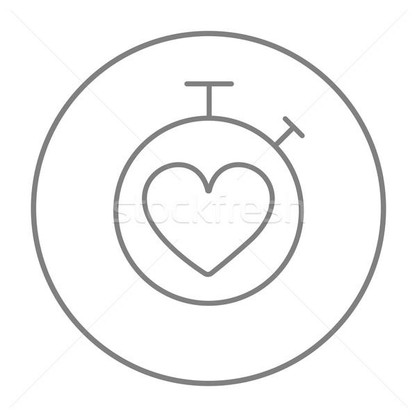 Stopwatch with heart sign line icon. Stock photo © RAStudio