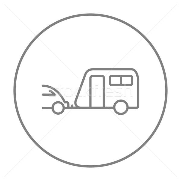 Carro caravana linha ícone teia móvel Foto stock © RAStudio