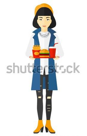 Vrouw lijden maagzuur asian vector ontwerp Stockfoto © RAStudio