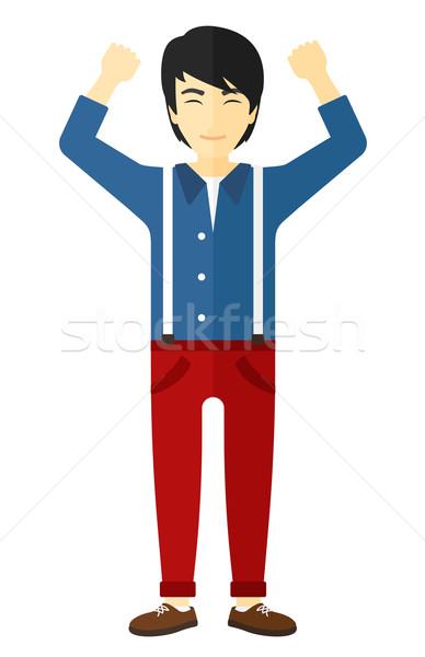 Man opgeheven handen omhoog asian vector ontwerp Stockfoto © RAStudio