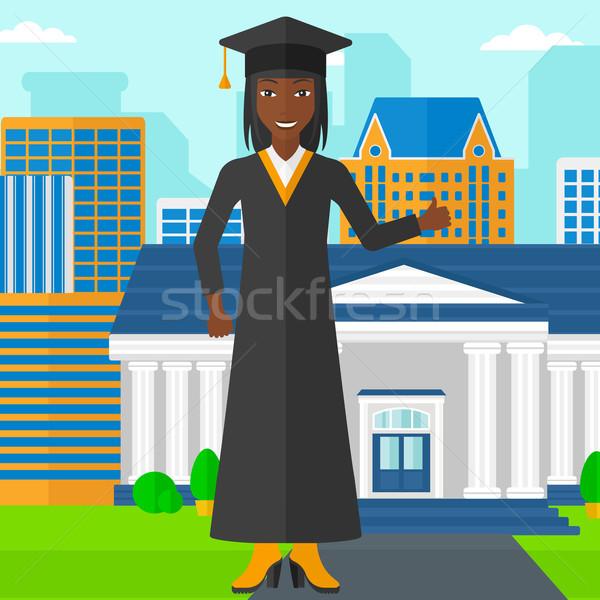 Stock fotó: Diplomás · mutat · hüvelykujj · felfelé · felirat · nő
