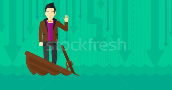 Zakenman permanente zinken boot asian vragen Stockfoto © RAStudio