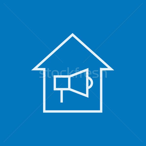 Ház tűzjelző vonal ikon sarkok háló Stock fotó © RAStudio
